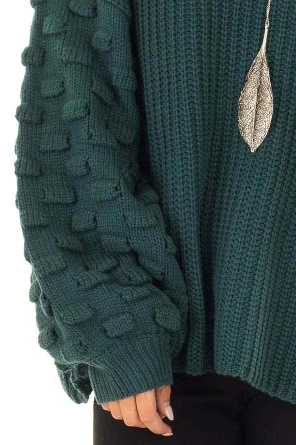 Forest Green Sweater with 3 Dimensional Bubble Sleeves detail