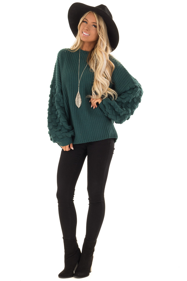 Forest Green Sweater with 3 Dimensional Bubble Sleeves front full body