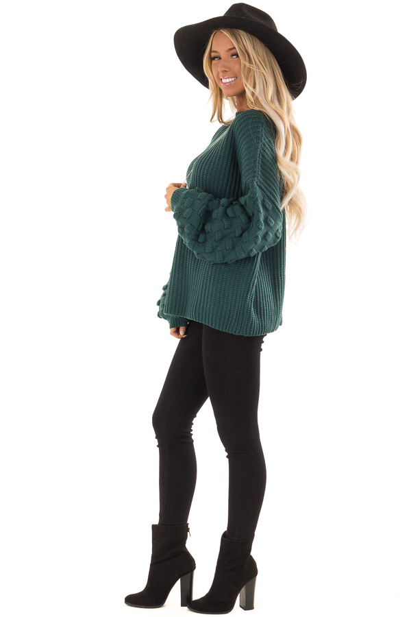 Forest Green Sweater with 3 Dimensional Bubble Sleeves side full body