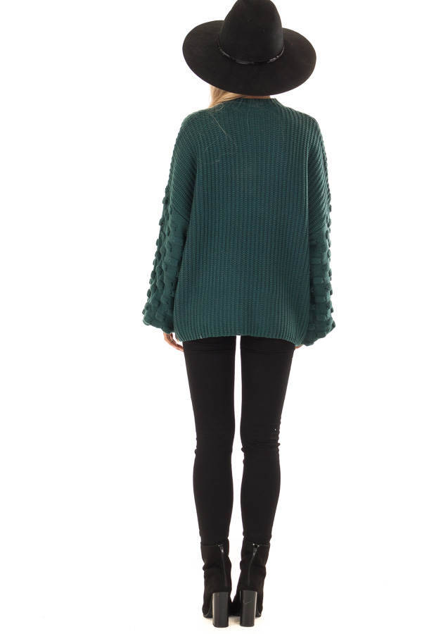 Forest Green Sweater with 3 Dimensional Bubble Sleeves back full body