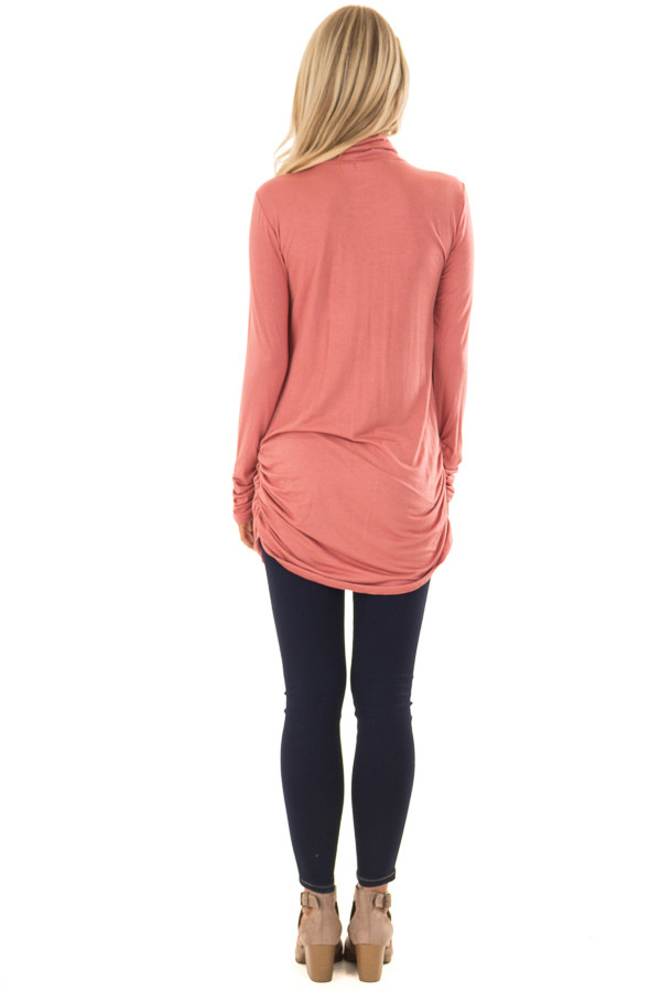 Brick Turtle Neck Top with Side Ruching back full body