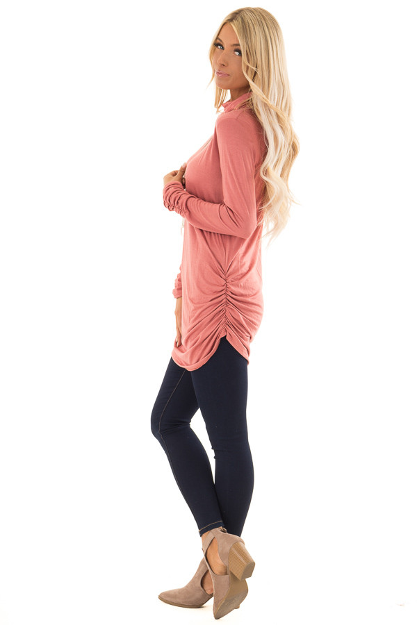 Brick Turtle Neck Top with Side Ruching side full body