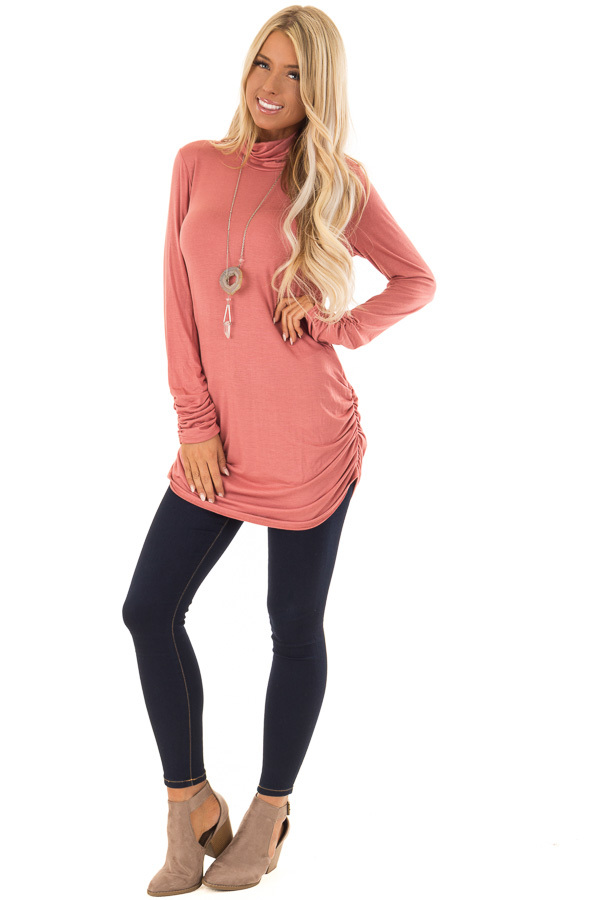 Brick Turtle Neck Top with Side Ruching front full body