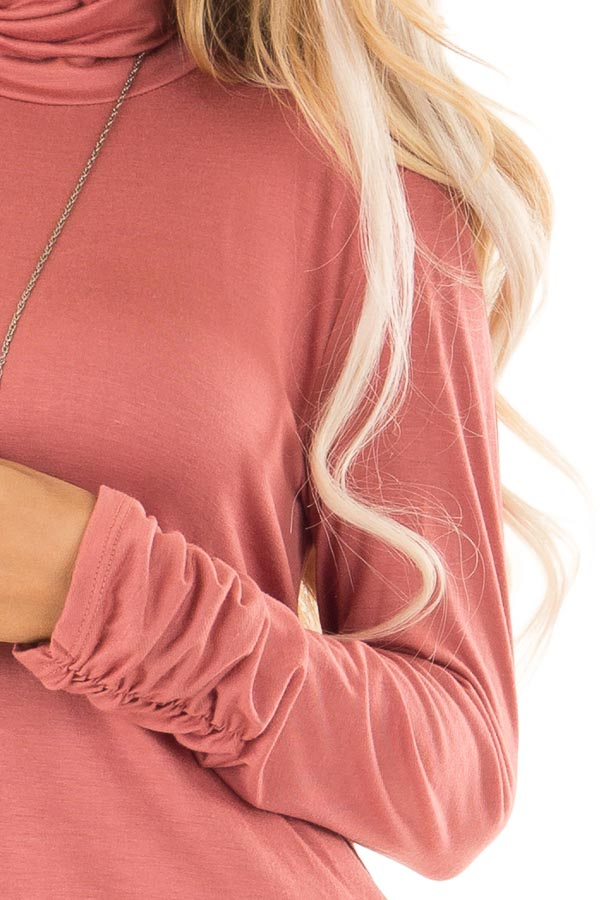 Brick Turtle Neck Top with Side Ruching detail
