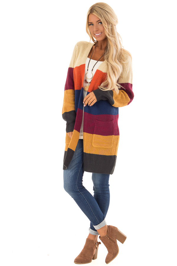 b04dc5e4c64ced ... Multicolor Striped Long Knit Cardigan with Front Pockets front full  body ...