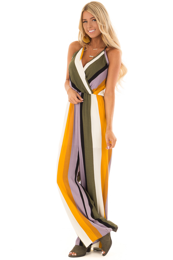 a34b04329667 ... Olive and Mustard Striped V Neck Jumpsuit front full body ...