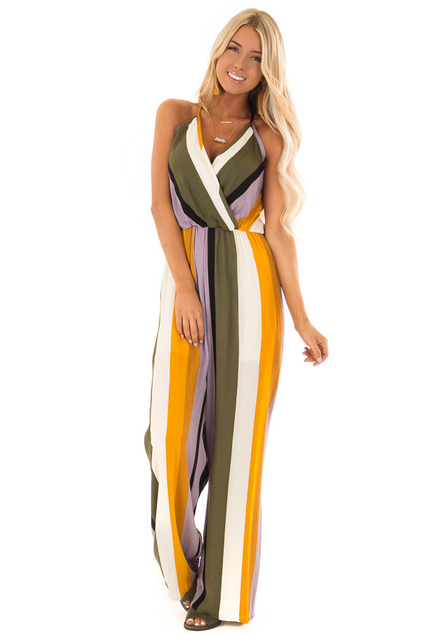1f39fa7b22d0 Olive and Mustard Striped V Neck Jumpsuit - Lime Lush Boutique
