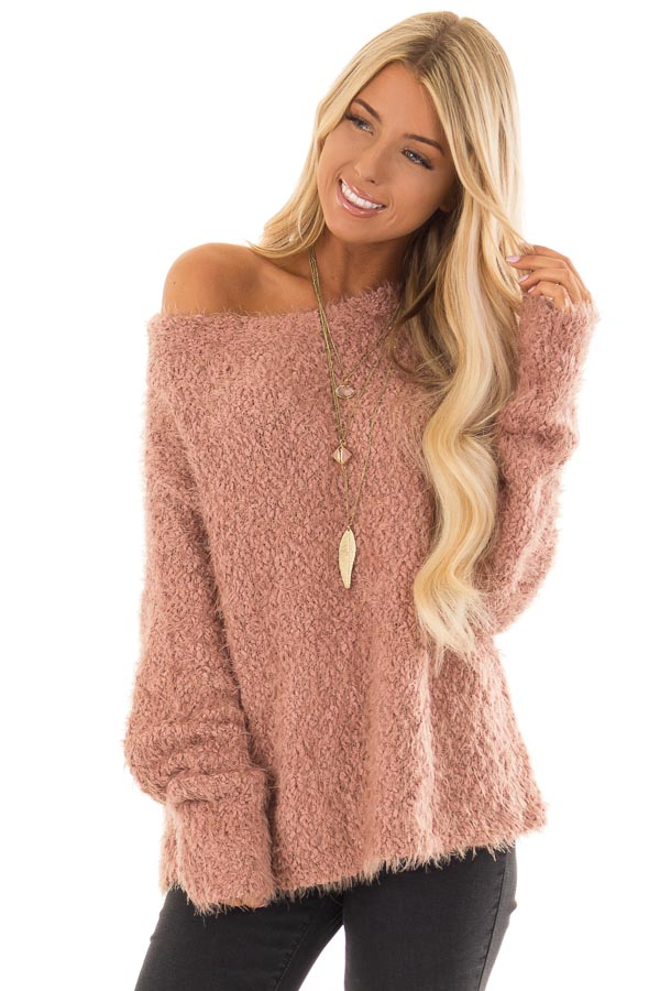 Dusty Rose Long Sleeve Knit Sweater with Asymmetrical Hem front close up