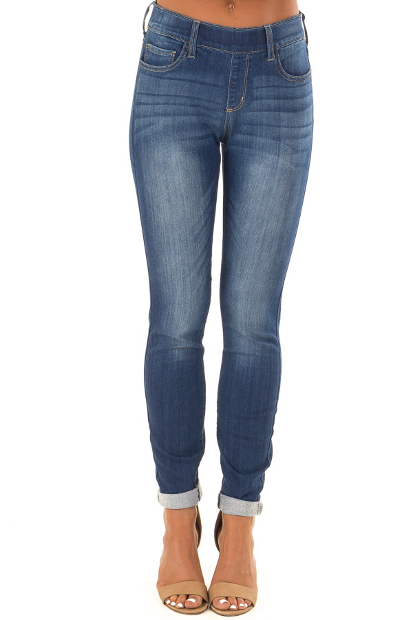 Dark Washed Skinny Jeans with Elastic Waist front view