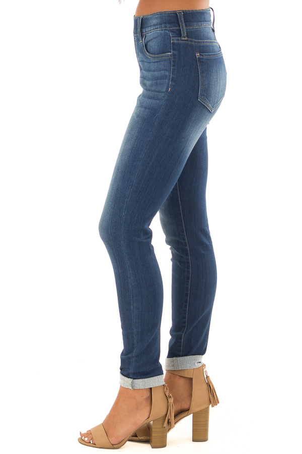 Dark Washed Skinny Jeans with Elastic Waist side view