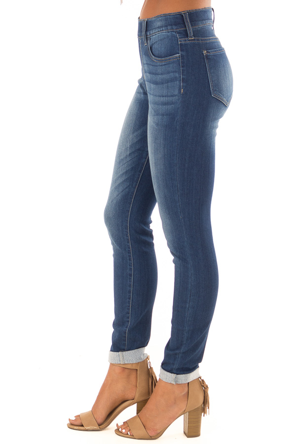 Dark Washed Skinny Jeans with Elastic Waist back view