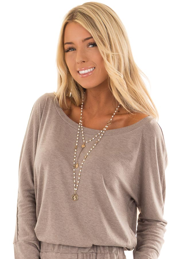 Gold Layered Pearl Necklace with Coin Pendant