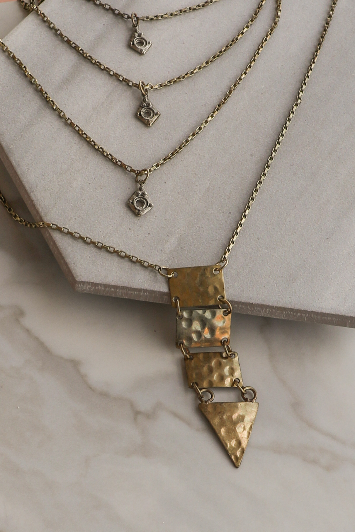 Antique Gold Brass Layered Pendant Necklace
