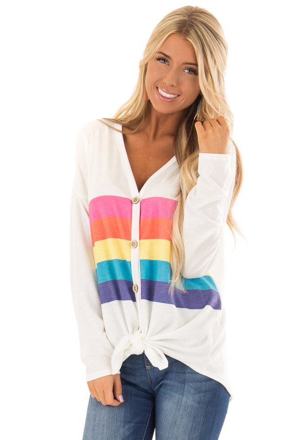 f8d334be99a58 Off White Long Sleeve Rainbow Stripe Top with Button Detail front close up