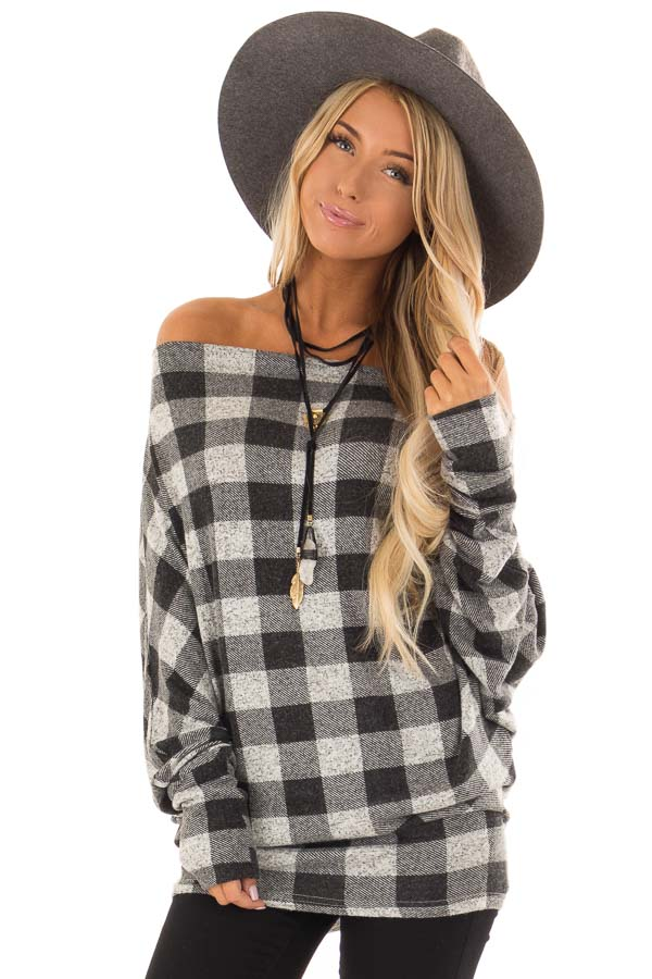 3880881d800500 Heather Grey and Black Buffalo Plaid Off Shoulder Top - Lime Lush ...