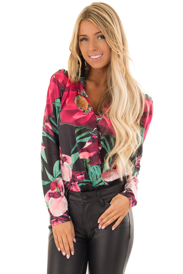 7146ffdfa47a Ink Black Floral Print Bodysuit with Long Sleeves - Lime Lush Boutique