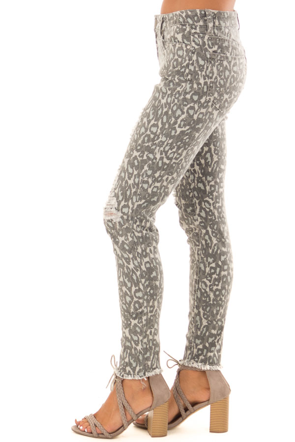 Anchor Grey Leopard Print Pants with Distressed Details side view