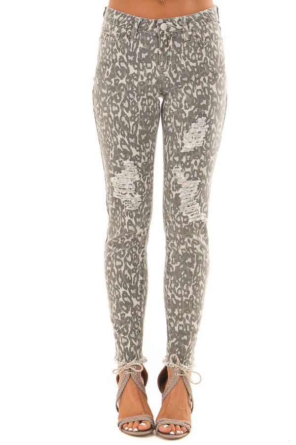 Anchor Grey Leopard Print Pants with Distressed Details front view