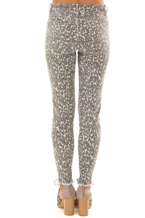 Anchor Grey Leopard Print Pants with Distressed Details back view