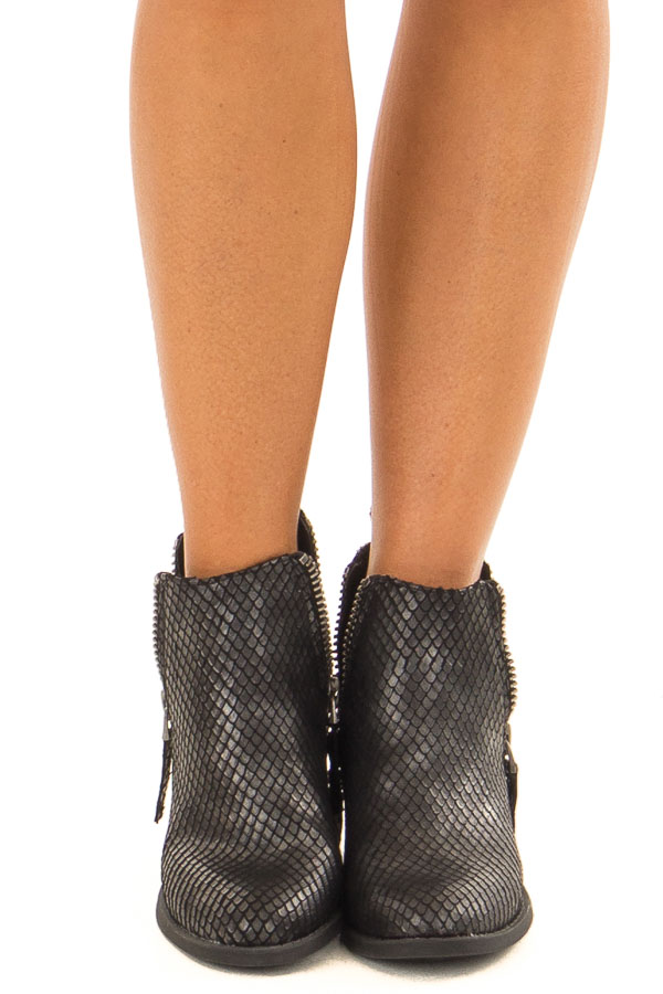 Black Metallic Reptile Embossed Bootie with Zipper Detail front view