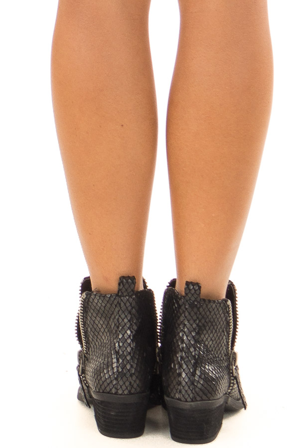 Black Metallic Reptile Embossed Bootie with Zipper Detail back view