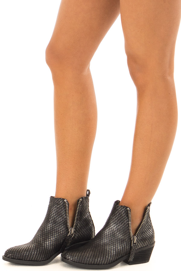 Black Metallic Reptile Embossed Bootie with Zipper Detail side view