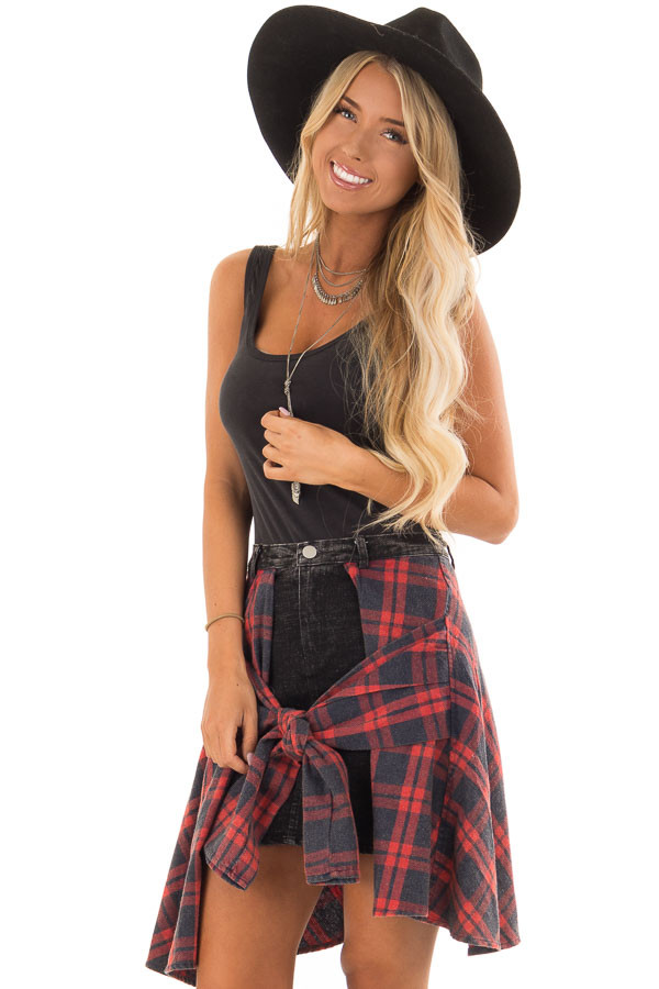 c9d873e66d21b8 Washed Navy and Red Plaid Skirt with Front Tie - Lime Lush Boutique