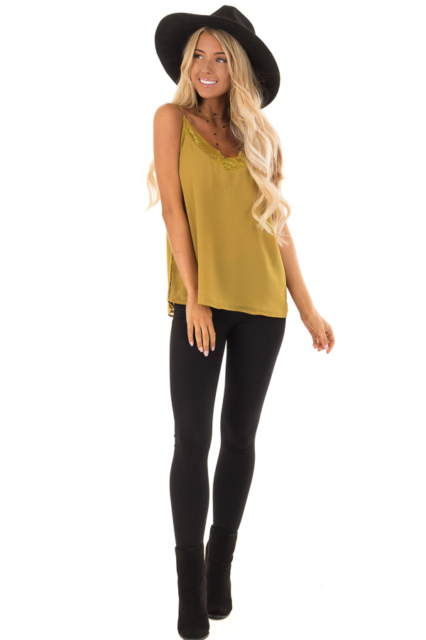9c8d8e5eca7639 ... Mustard Crepe Tank Top with Lace Trim Detail front full body ...