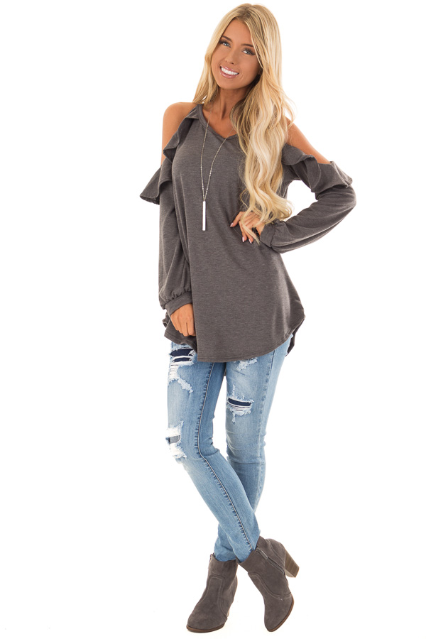 Charcoal Grey Cold Shoulder Top with Ruffled Detail front full body