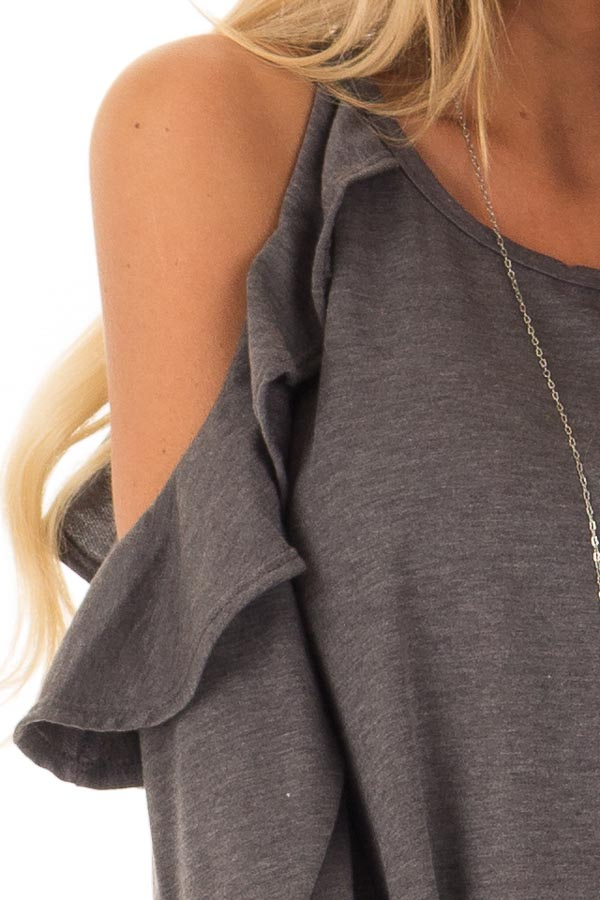 Charcoal Grey Cold Shoulder Top with Ruffled Detail detail