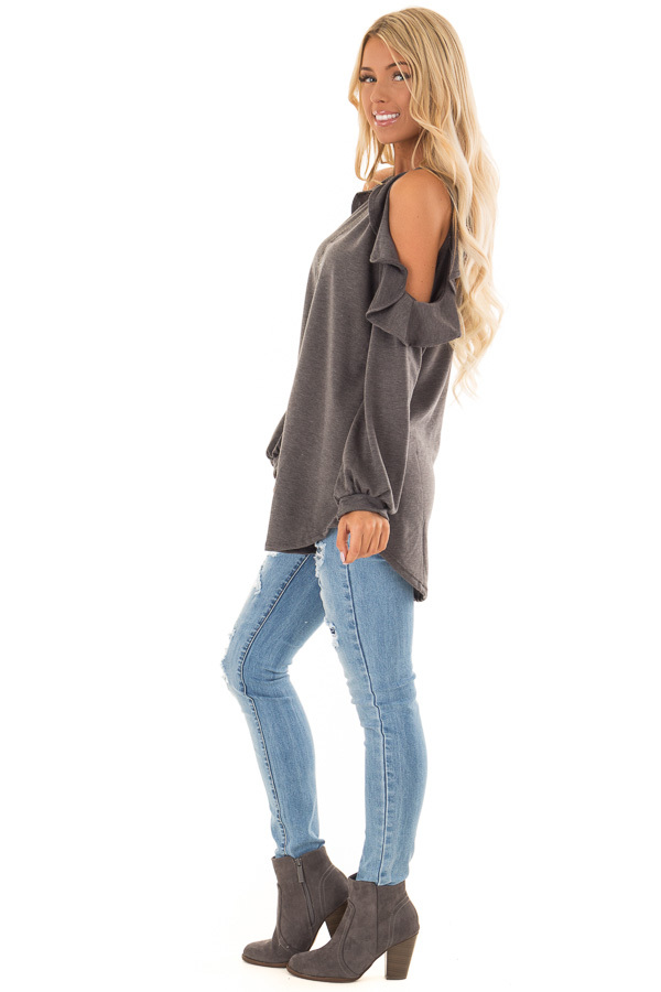 Charcoal Grey Cold Shoulder Top with Ruffled Detail side full body