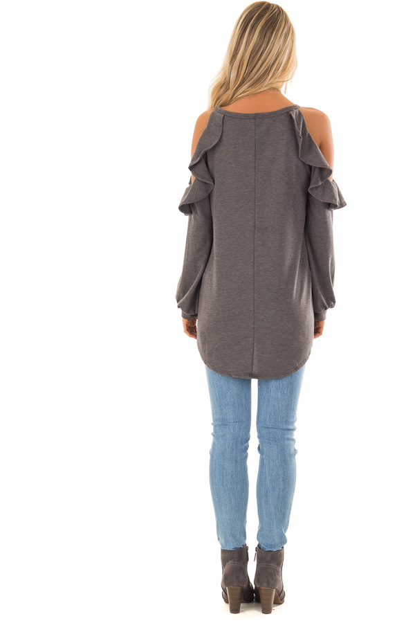 Charcoal Grey Cold Shoulder Top with Ruffled Detail back full body