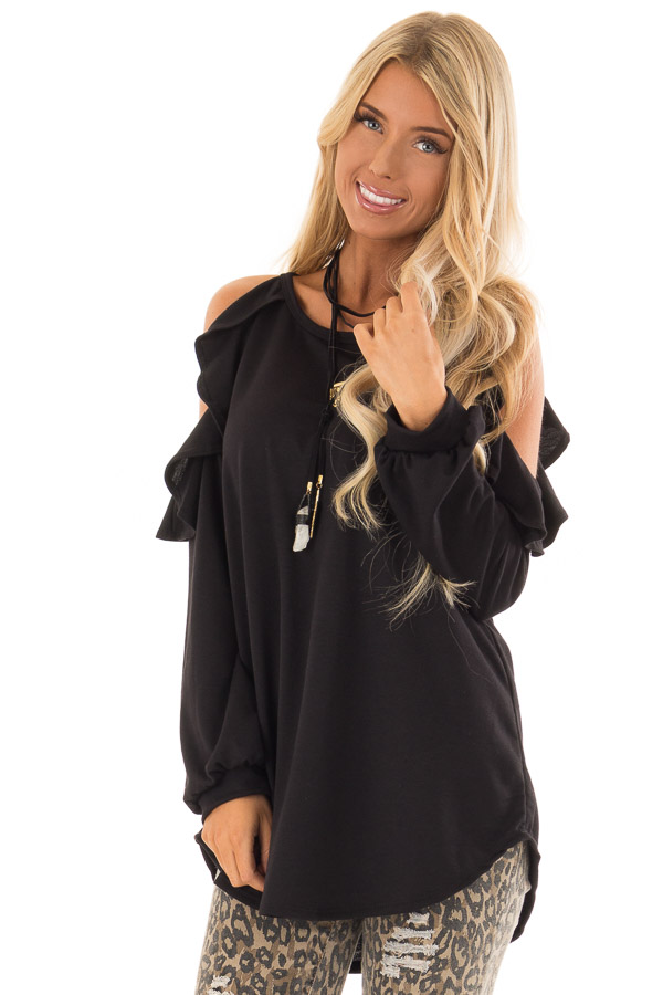 2baf3439554976 Midnight Black Cold Shoulder Top with Ruffled Detail - Lime Lush ...