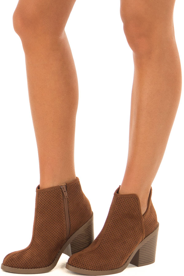 aee0f3e856c ... Caramel Faux Suede Block Heeled Bootie front side view ...