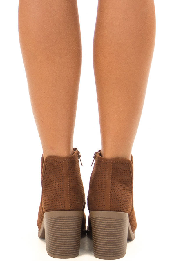 Caramel Faux Suede Block Heeled Bootie back view