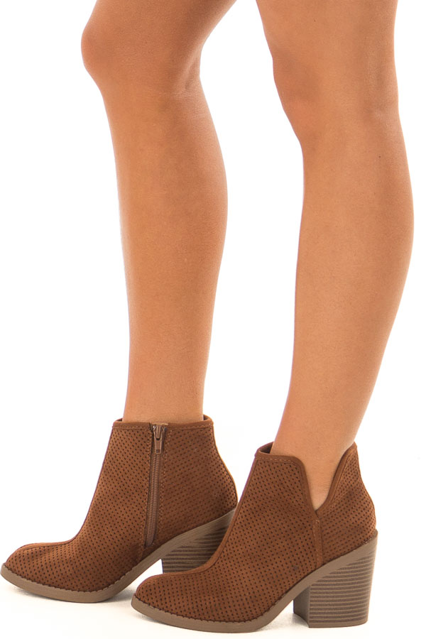 Caramel Faux Suede Block Heeled Bootie side view