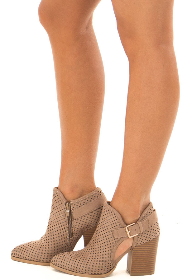 816c8f2c90 Taupe Faux Suede Cut Out Heels with Buckle Detail - Lime Lush Boutique