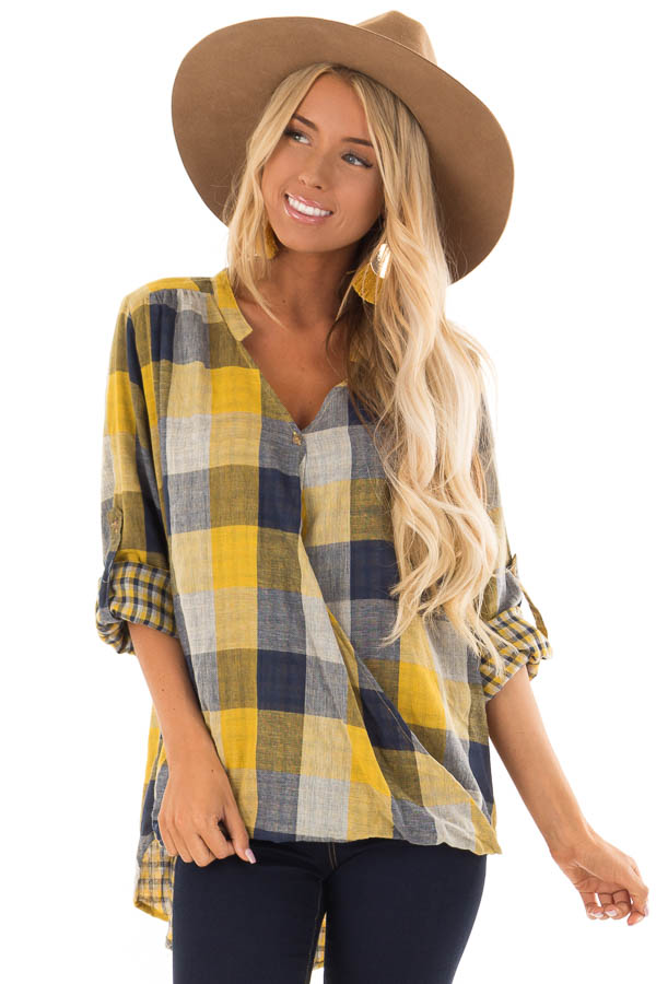 Navy and Mustard Plaid Surplice Top with Roll Up Sleeves front close up