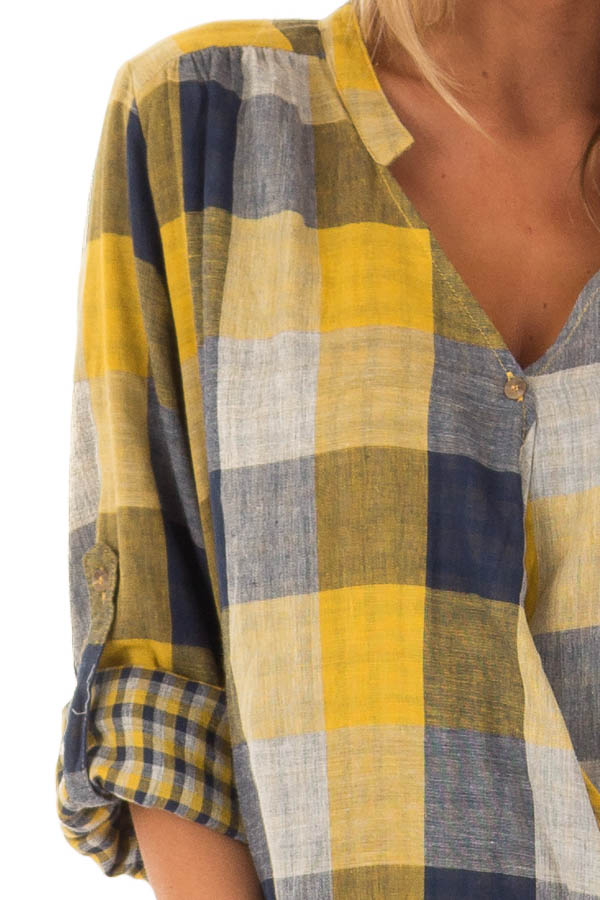Navy and Mustard Plaid Surplice Top with Roll Up Sleeves detail