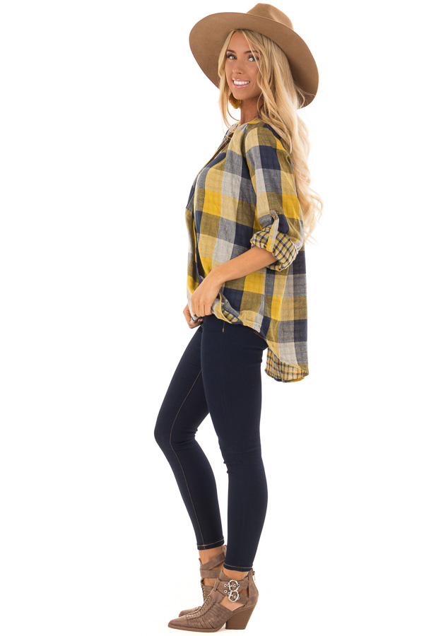 Navy and Mustard Plaid Surplice Top with Roll Up Sleeves side full body