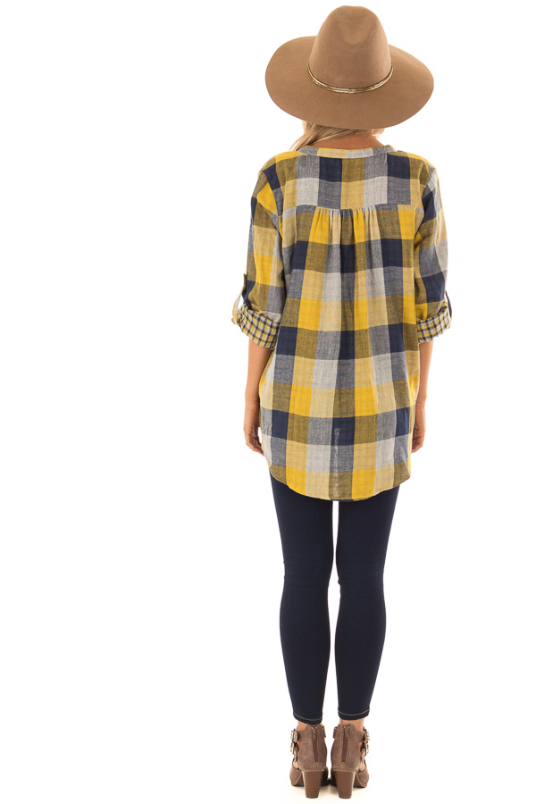 Navy and Mustard Plaid Surplice Top with Roll Up Sleeves back full body