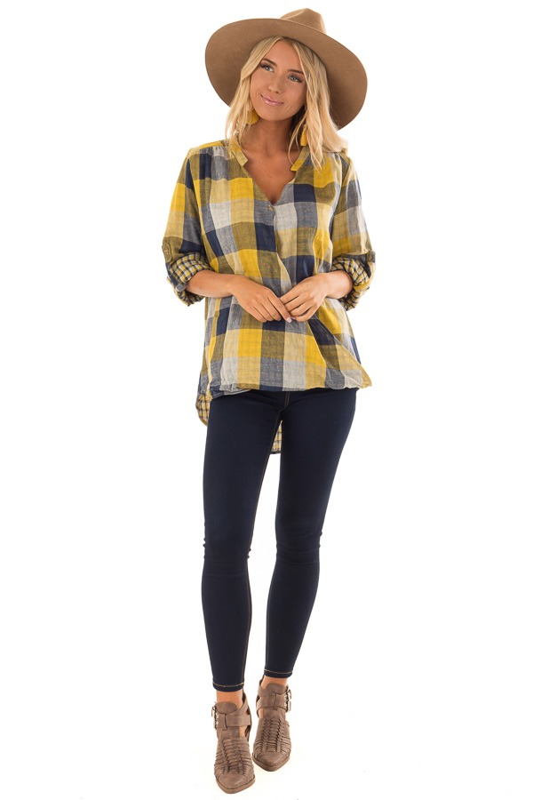 Navy and Mustard Plaid Surplice Top with Roll Up Sleeves front full body