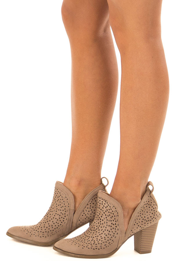 Taupe Faux Suede Heeled Bootie with Cut Out Details side view
