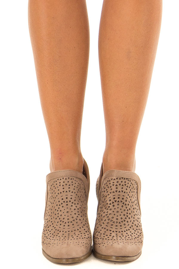 Taupe Faux Suede Heeled Bootie with Cut Out Details front view