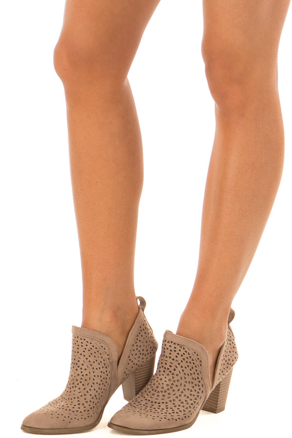 Taupe Faux Suede Heeled Bootie with Cut Out Details front side view