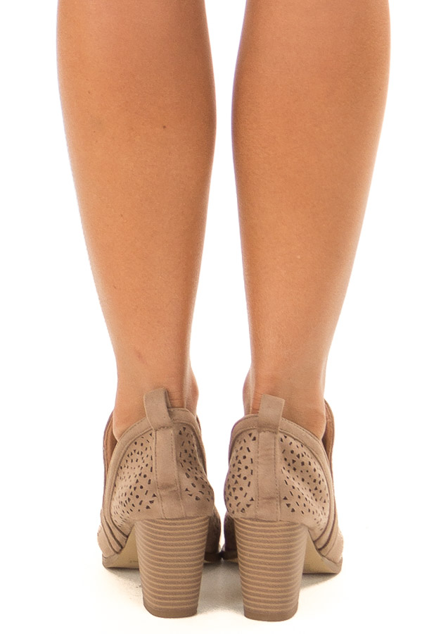 Taupe Faux Suede Heeled Bootie with Cut Out Details back view