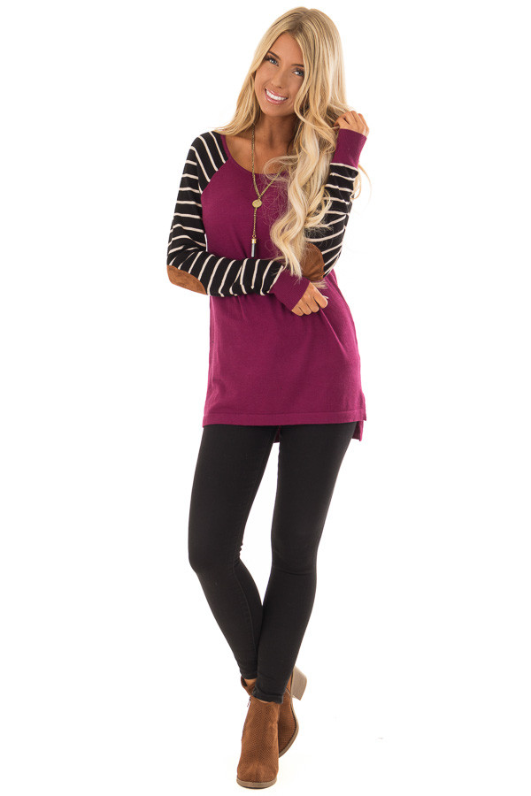 Magenta Sweater with Striped Sleeves and Suede Elbow Patches front full body