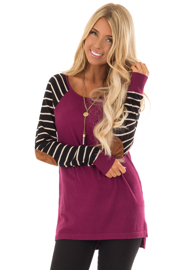 Magenta Sweater with Striped Sleeves and Suede Elbow Patches front close up