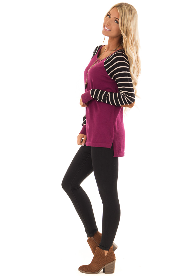 Magenta Sweater with Striped Sleeves and Suede Elbow Patches side full body
