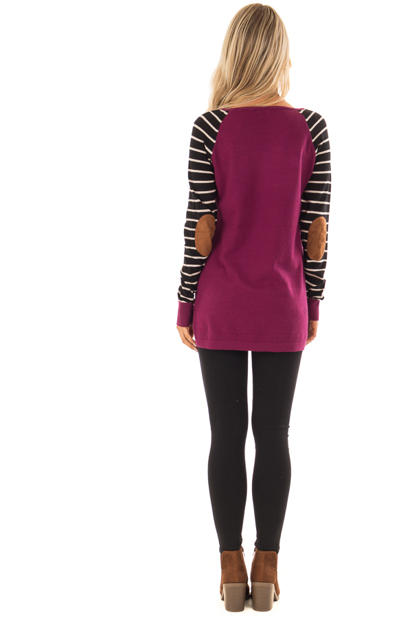 Magenta Sweater with Striped Sleeves and Suede Elbow Patches back full body
